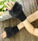 Lady Faux Rabbit Fur Hand Wrist Winter Warmer Knitted Fingerless Gloves Mittens
