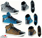 Mens Hi Top Flat Lace Up Trainers Faux Suede - Ankle Boot - Sizes 5-8 NEW