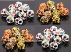 20pcs Crystal Rhinestone Paved Silver/Golden Metal Rondelle Spacer Beads 10mm