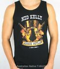 Ned Kelly Flames Mens Singlet, Famous Helmet Design! Sizes S, M, L, XL & XXL