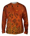 Yizzam- African Tribal Kuba Cloth Triangles - New Mens Long Sleeve Tee Shirt XS