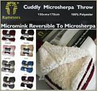 Luxurious Microsherpa Throw Rug  Faux Fur Blanket 150 x 170cm Color Choices
