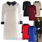 LADIES COLLAR BLACK WHITE PLAIN SMOCK PVC WET LOOK DRESS SHIRT DRESS 8 10 12 14