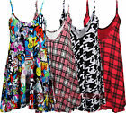 O58 NEW WOMENS LADIES SLEEVELESS STRAP PLAID CAMI SWING VEST TOP PLUS SIZE DRESS