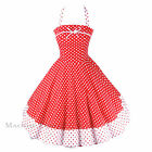 Maggie Tang 50s VTG Rockabilly Floral Polka Dots Pinup Party Swing Dress R-502
