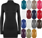 New Womens Turtle Neck Long Sleeve Ladies Plain Ruched Polo Stretch Top 8 - 14