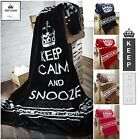 Large Faux Fur KEEP CALM & SNOOZE Soft Blanket Sofa / Bed Throw