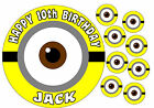 EDIBLE ICING MINION EYE DESPICABLE ME HAPPY BIRTHDAY NAME CAKE CUPCAKE TOPPERS