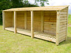 TRIPLE BAY 4FT OUTDOOR WOODEN LOG STORE - ALSO AVAILABLE WITH DOORS.