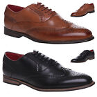 MENS BOYS LEATHER BROGUE OXFORD LACE UP ROUND TOE FORMAL OFFICE SHOES SIZE 7-10