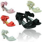 GIRLS SATIN SANDALS LOW KITTEN HEEL PARTY BRIDESMAID WEDDING DIAMANTE SHOES SIZE