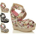 Womens ladies platform shoes high wedge strappy sandals size