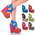 LADIES PLATFORM SHOES HIGH STRAPPY WEDGE SANDALS SIZE