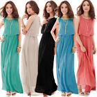 Women Bohemia Sleeveless Pleated Wave Chiffon Sundress Maxi Long Dress M-L