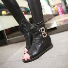 Womens Low Heel Wedge Open Toe Ankle Summer Boots Buckle Leather Shoes Sandals