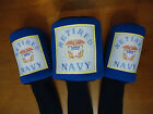 "RETIRED Navy Golf Headcover Single ""OR"" Set (X, #3, #5) Sweet Military Golf Gift"