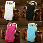 Gold Designer Leather Chrome Hard Case Cover For Samsung Galaxy S3 SIII i9300