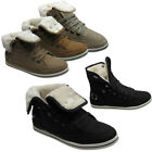 New Ladies Flat Lace Up High Hi Top Sport Casual Girls Pumps Fur Trainers Shoes
