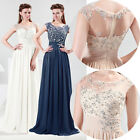 Captivating Long Sexy Pleated Evening Party Banquet Wedding Gown Prom Dress 8 SZ