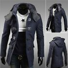 Mens Korean Slim Fit Coat Woolen Hoodie Jacket Windbreaker Vogue Casual Overcoat