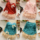 Baby Girls Toddlers Knit Top Kids Lace Bow Pearl Princess Tutu Dress Skirt 0-3Y