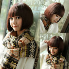 Fashion Womens Ladies Short Straight BoB Hair Cosplay Party Full Wig Brown/Black