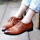 Womens Vintage Lace Up Cuban Heel Brogue Chelsea Pointy Toe Oxford Shoes 2014
