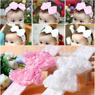 Baby Children Sweet Cute Bow Lace Pearl Headband Hairband Wedding Christening 5O