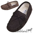 Lambland Mens / Ladies Sheepskin Suede Moccasin Slippers with Soft Suede Sole