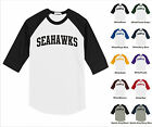 Seahawks College Letter Team Name Raglan Baseball Jersey T-shirt