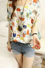 Vintage Women's Chiffon Short Sleeve Loose Casual Printed T-shirt Top Blouse UK