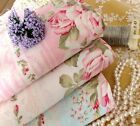 Cottage Vintage Shabby Chic Striped Pink ROSES Cotton Fabric Craft Quilting FQ