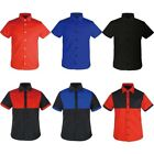 Mens Womens Short Sleeve Casual Dress button up shirts business T-shirt Top Tee
