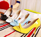 new fashion women's pure color bowknot pointed high heel thin shoes