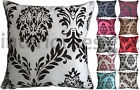 """NEW Damask Flock Print Piped Luxury Quality Cushion Cover 45x45cm 18""""x18"""""""