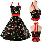 Vintage Style 50's Swing Dress Housewife Rockabilly Pinup Prom Party Gown IN UK