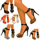 NEW Ladies Cut Out Peep Toe Buckle Ankle Strap Cuff High Heel Sandals Shoes Size