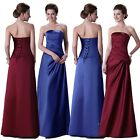 HOT SALE!  Womens Satin Strapless Long Evening Prom Ball Gown Bridesmaid Dresses