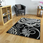Luxury Black White Floral Motif Rug High Quality Cheap Soft Durable Pattern Rugs