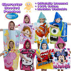 Double Sided Character Hooded Poncho Towels Kids Boys Girls 100% Cotton Licensed
