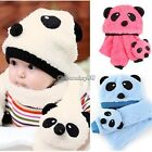 Cute Panda Hat Head Cap Beanie + soft Scarf Set Baby Toddler Girl Boy Newborn