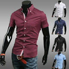 Summer Mens Comfy Premium Short Sleeve Slim Fit Shirts Casual Dress Shirts Tops