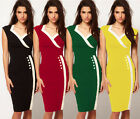 Women's Formal Business Casual Party V Neck Clubwear Bodycon Wiggle Dress XXS~L
