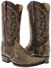 Men's genuine brown python snake skin cowboy boots western exotic biker xxx toe