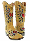 Women's ladies distressed leather cowboy boots western riding biker very rustic