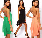 Hot Women Chiffon Sexy Backless Sleeveless Short Stylish Summer Casual Dresses