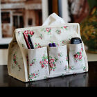 Home Family Cotton Fabrics Floral 6 Pockets Tissue Storage Box Sundries Bag New