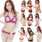 Women Bikini Set Full Sheer and Lace Open Bust Bra Crothless Beaded Lingerie Set
