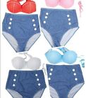 4Colors Women Retro Vintage Pin Up High Waist Bikini Set Swimsuit Swimwear -LA