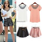 Summer Fashion Womens Loose T-shirt Chiffon Short Sleeve Casual Tops Blouse C1MY